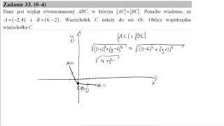 Matura czerwiec 2015 zadanie 33 Dany jest trójkąt równoramienny ABC, w którym  AC = BC . Ponadto