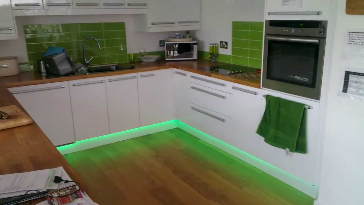 Our Finished Kitchen YouTube - Kitchen plinth lighting ideas