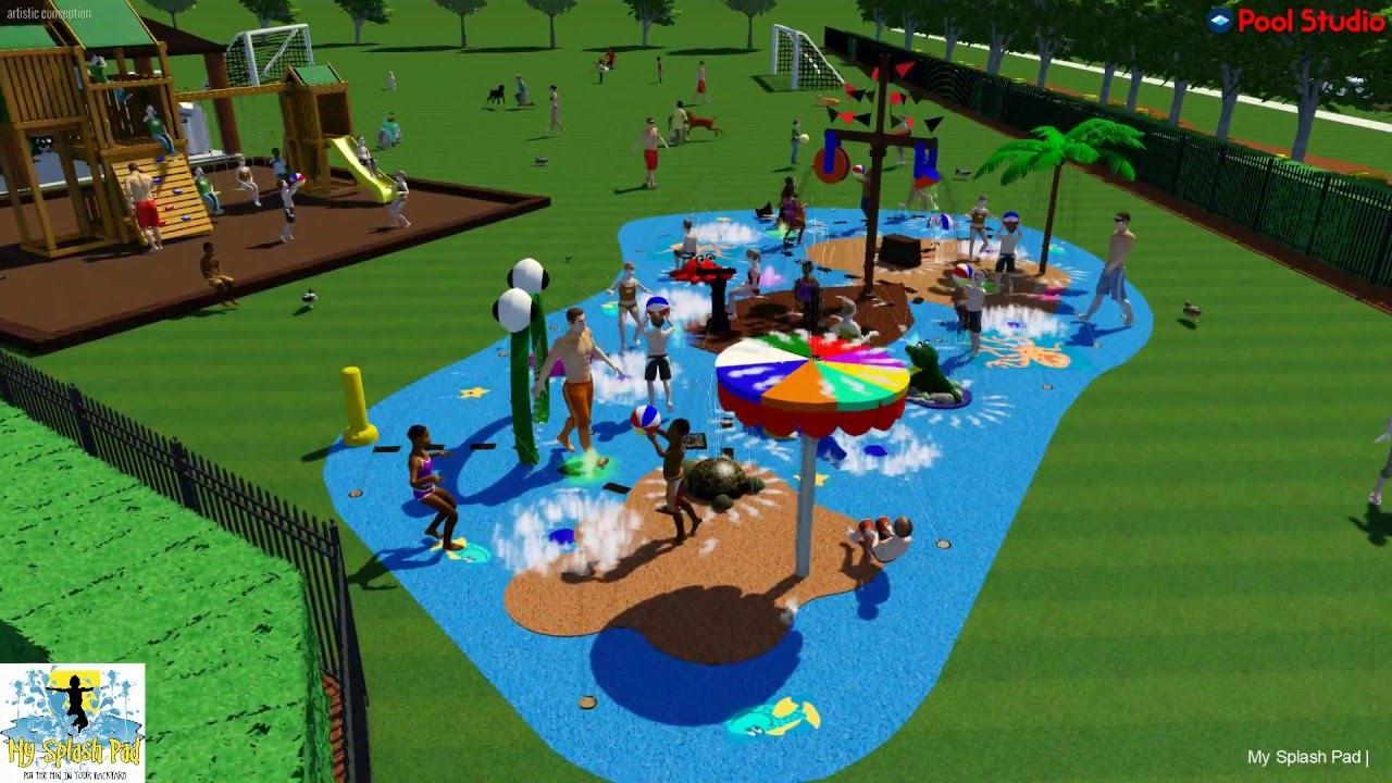 My Splash Pad James Island Jacksonville, FL Design And Build Splashpad  Turnkey Community Water Park   YouTube