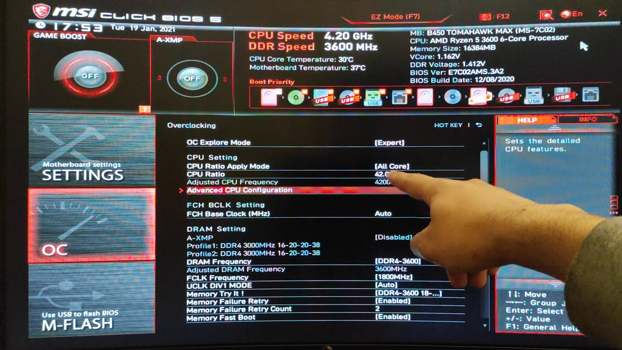 MSI ANAKARTLARDA RYZEN 5 3600 (4.2Ghz) NASIL OVERCLOCK YAPILIR?