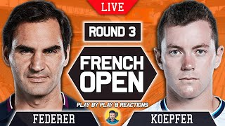 🔴 FEDERER vs KOEPFER | French Open 2021 | LIVE Tennis Play-by-Play