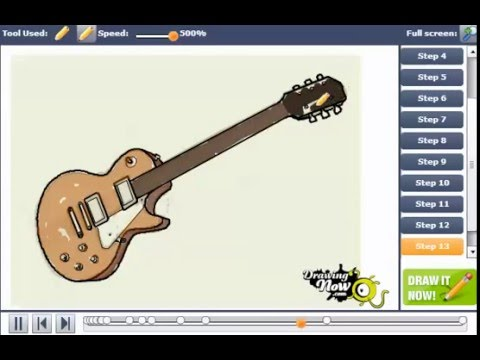 How To Draw A Gibson Les Paul Electric Guitar Youtube