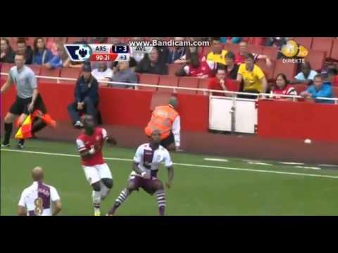 SAGNA Horror Injury Arsenal vs Aston Villa 1-3 17 08 2013 HD