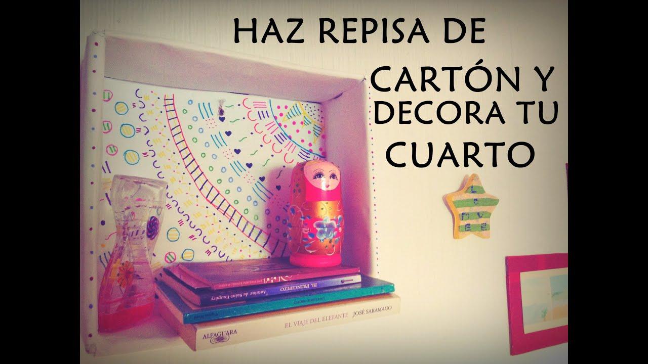 Diy repisa con caja de cart n animaci ndi youtube for Ideas para decorar tu cuarto reciclando
