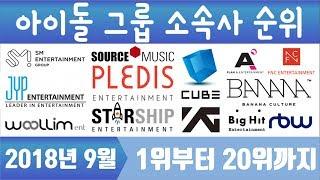 아이돌 그룹 소속사 순위 TOP20 (2018.09 K-POP IDOL GROUP ENTERTAINMENT RANKING)