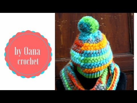 Crochet braided puff hat& scarf- by Oana