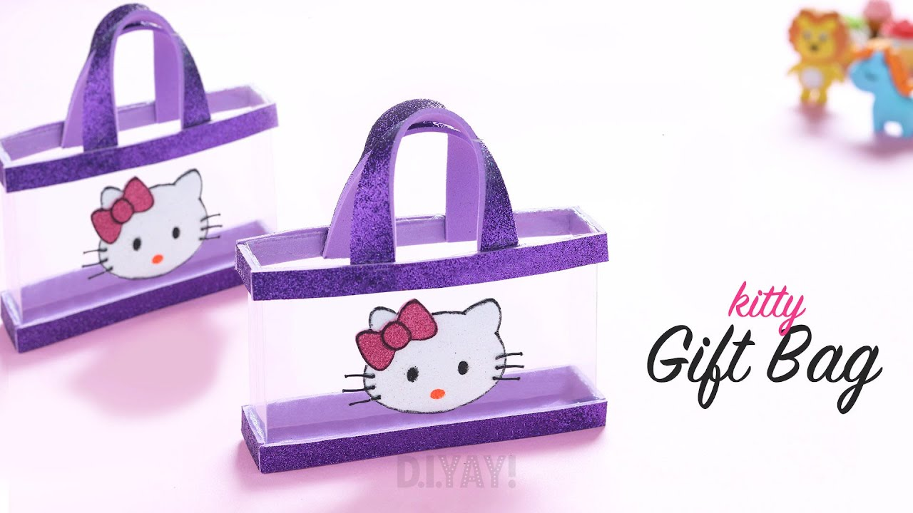 DIY Gift Bag | Gift Ideas | DIY Kitty Gift Bag | Best out of Waste (1-minute video)