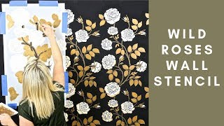 How To Stencil A Metallic Roses That Look Like Wallpaper On A Black Wall