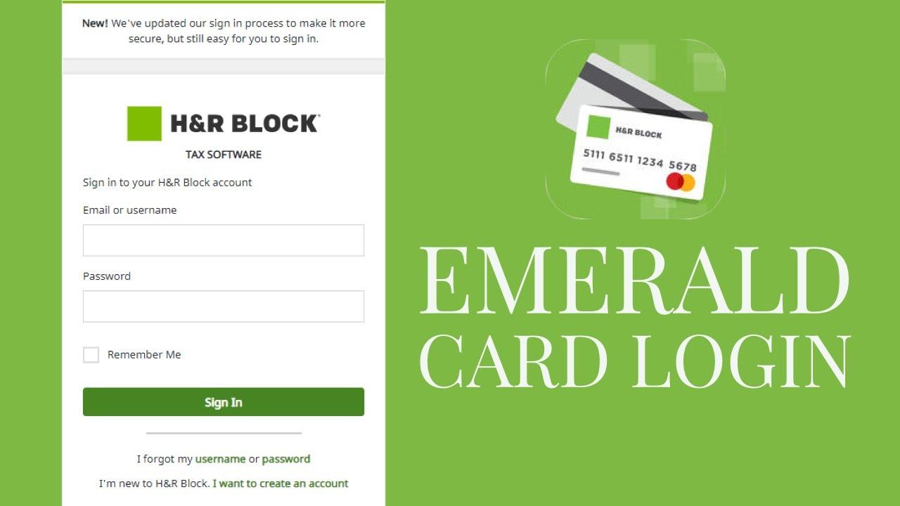h and block emerald card login