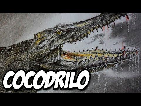Dibujo de un cocodrilo prehistórico a lápiz, dibujando un cocodrilo gigante