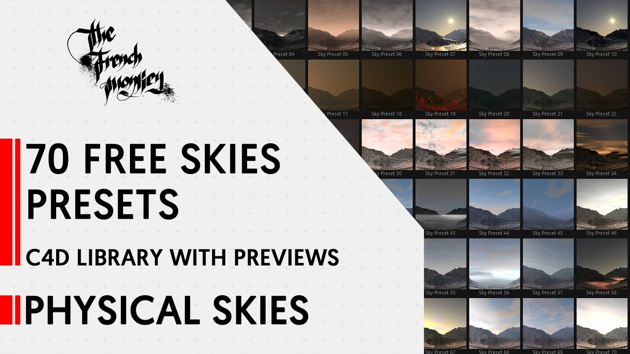 Physical Skies // FREE // 70 Skies Presets // C4D Library