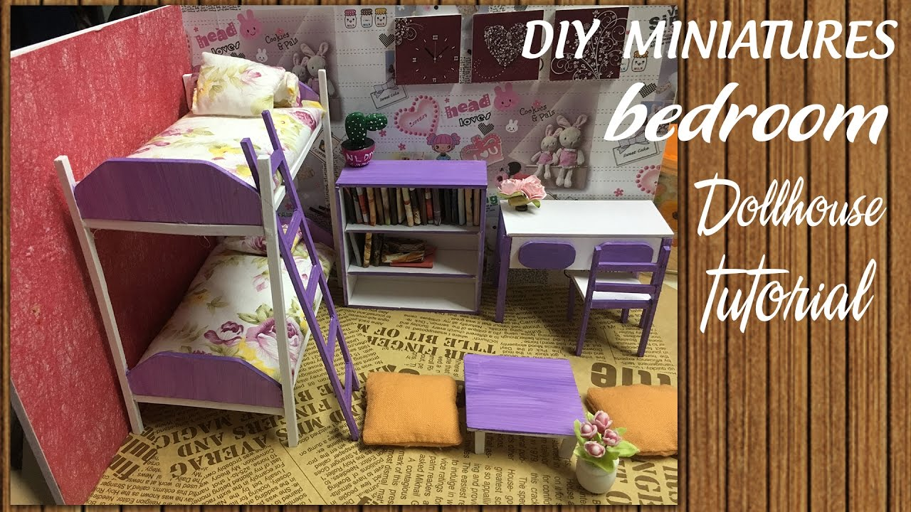 Diy Dollhouse Miniature Bedroom Tutorial Diy Furniture Set