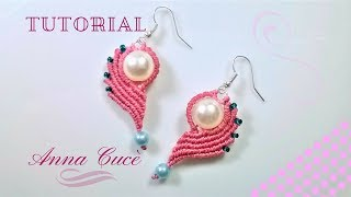 "Tutorial macrame earrings "" Clarissa the heart in half ""/ Il cuore a metà / Simple earrings"