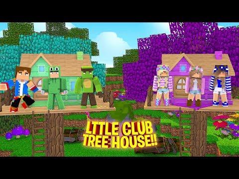 LITTLE CLUB BOYS TREE HOUSE VS LITTLE CLUB GIRLS TREE HOUSE!! Minecraft - Little Donny Adventures