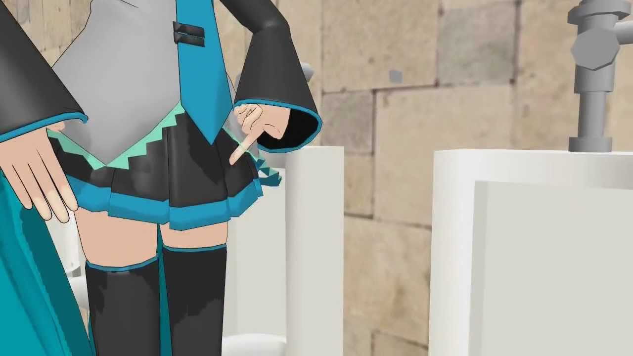 MMD  Miku vs Len in the bathroom  YouTube