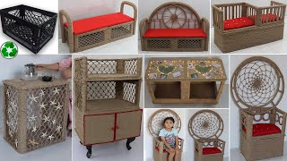 12 Best Out Of Waste Ideas with Plastic Crates   Furniture Jute Craft