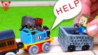 Поїзди для дітей Стіва з Майнкрафт рятує Томас, поїзд, іграшка шаржу