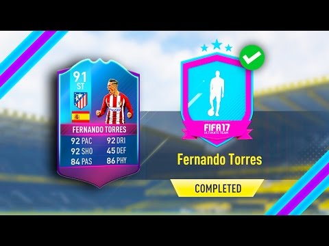 THROWBACK 91 RATED FERNANDO TORRES PREMIUM SBC! (COMPLETED) FIFA 17 ULTIMATE TEAM