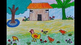 Vẽ Tranh Đề Tài Con Vật Nuôi Trong Gia Đình _Đàn Gà Trước Sân Nhà