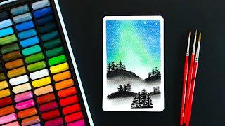 쉬운 파스텔 그림 그리기/오로라 숲/엽서/힐링/아크릴화…