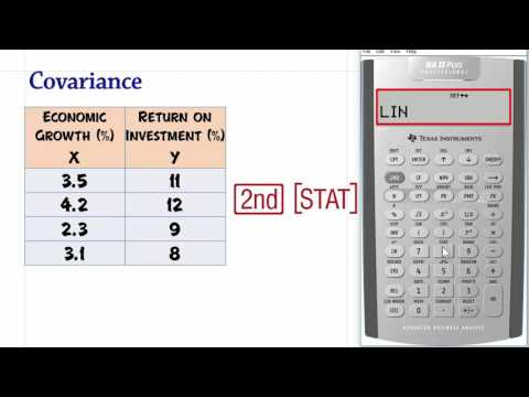 Covariance, Using The BA II PLUS Calculator