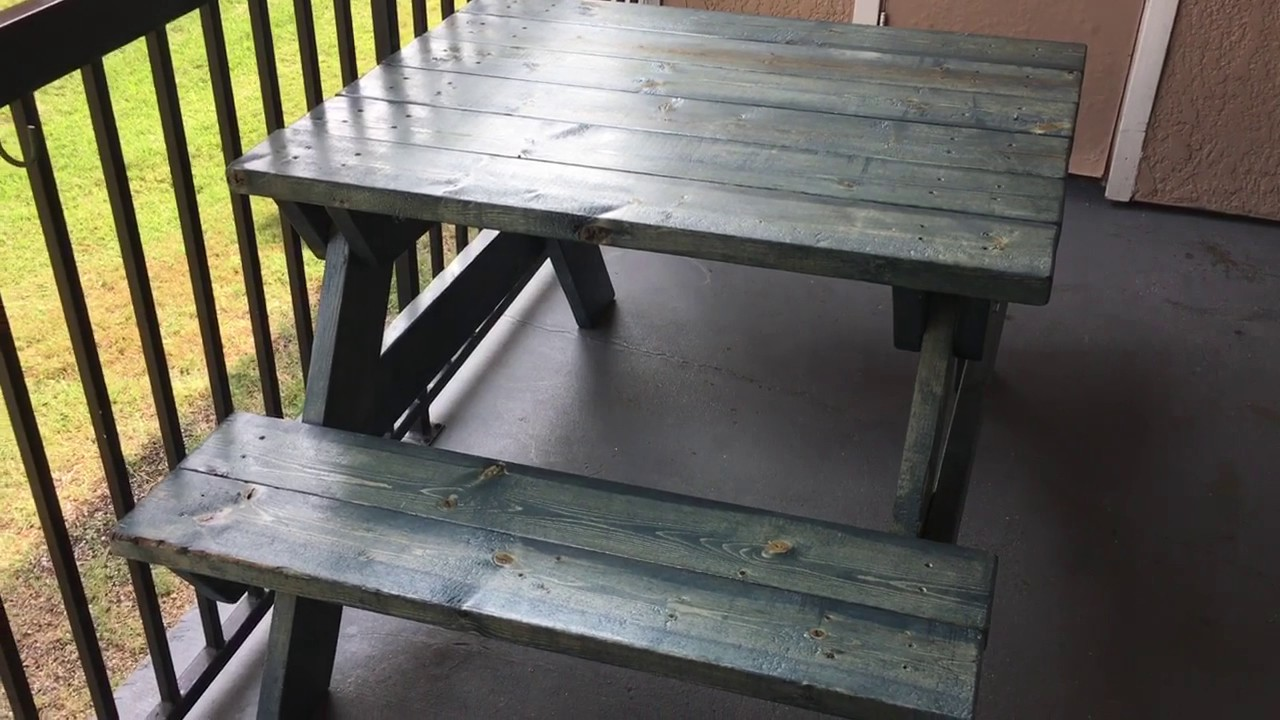 Picnic Table Worn Navy Stain By Varathane Spar Urethane Clear - How to stain a picnic table