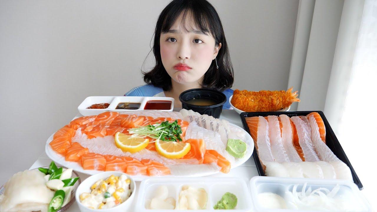 녹화 버튼 또 안눌러버렸다😫광어회 연어회 먹방 + 나 울어 ㅠㅠ ft. 광어초밥, 연어초밥, 우럭 REALSOUND MUKBANG | Salmon, Sushi :D