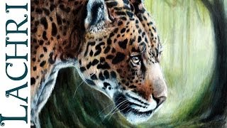 How to blend colored pencils with paint thinner - Jaguar full tutorial painting by Lachri