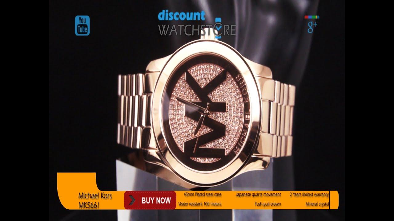 ec5ff7516ceb Michael Kors MK5661 Women s Uptown Glam Runway Oversized Rose Gold Steel Watch  Review Video
