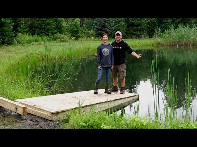 Building a DIY FLOATING DOCK at our OFF-GRID PROPERTY (PART 1) Cement Piers & First Dock