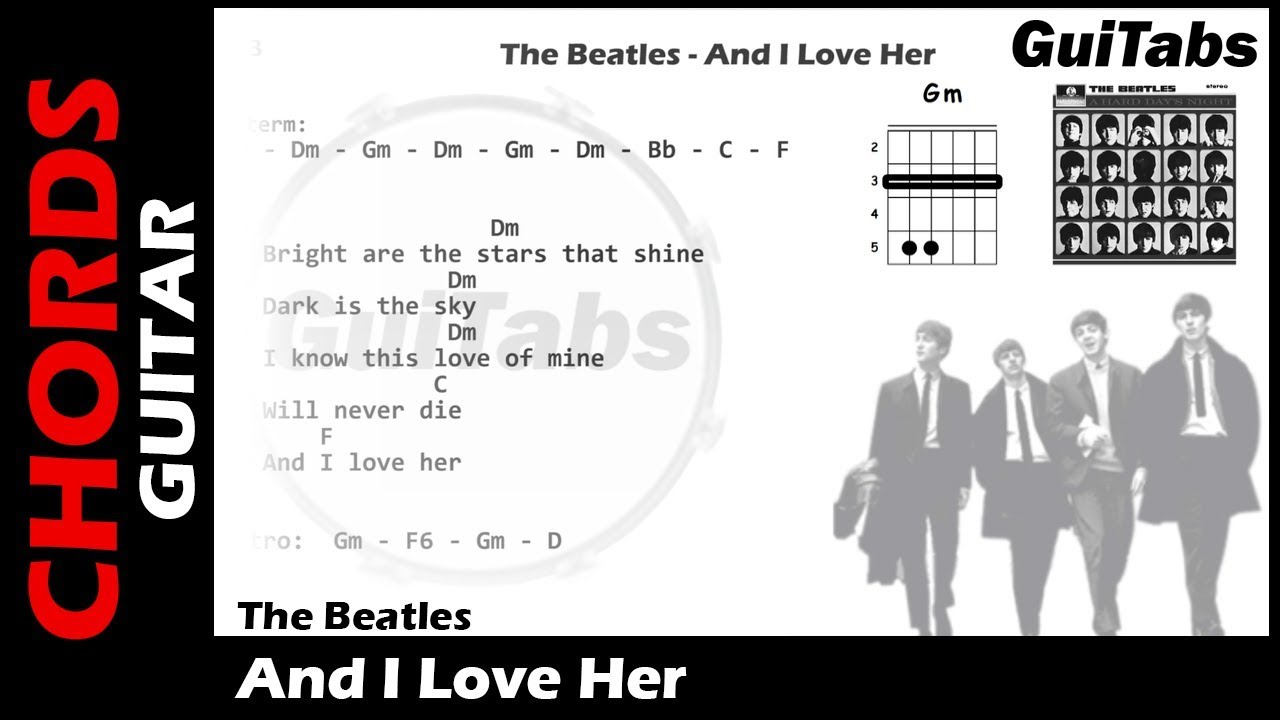 The beatles and i love her lyrics and guitar chords youtube the beatles and i love her lyrics and guitar chords hexwebz Images