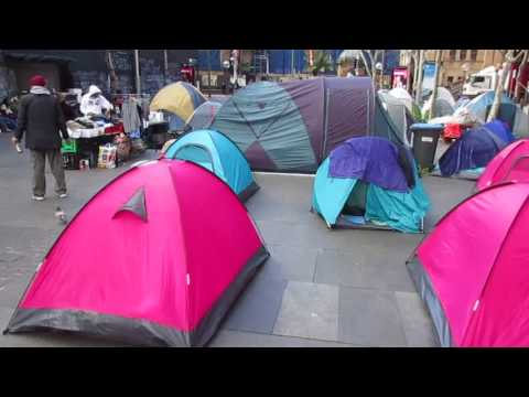 Martin Place homeless camp near Parliament House, Sydney