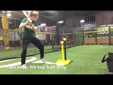 Softball Tee Drill To Prevent Dropping Back Shoulder YouTube