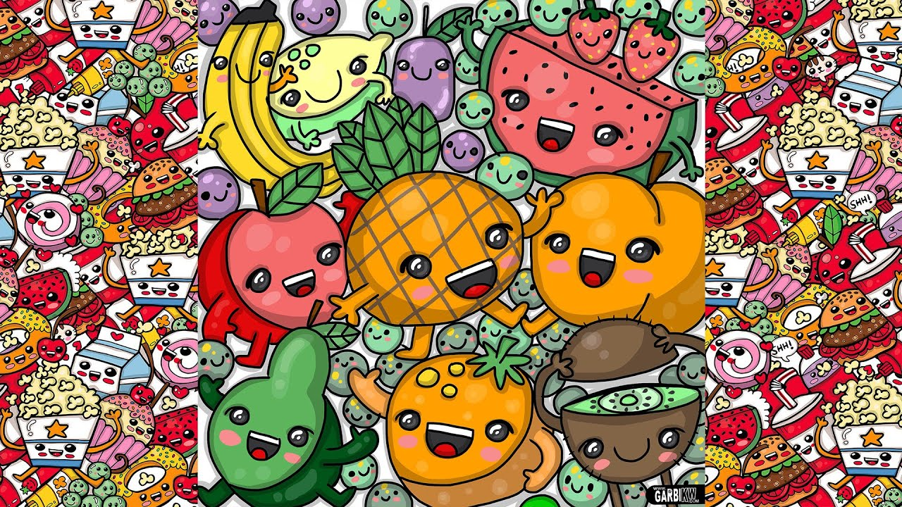 Cute Kiwi Wallpaper How To Draw Party Kawaii Fruits By Garbi Kw Youtube