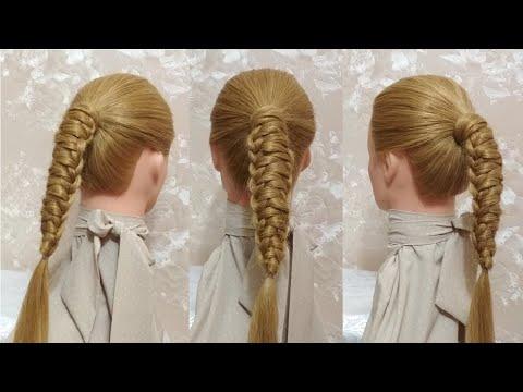 Лёгкая красивая прическа с косой для девочки в школу на длинные волосы