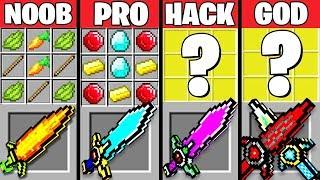 Minecraft Battle: SUPER SWORD MOD CRAFTING CHALLENGE - NOOB vs PRO vs HACKER vs GOD ~ Animation