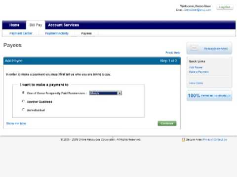 Add a Payee to Online Billpay