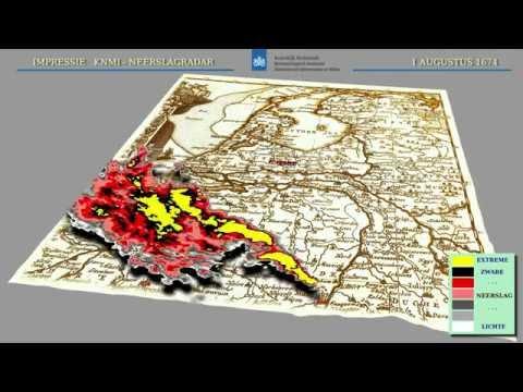 Impressie radarbeelden 1 augustus 1674. Bron: KNMI