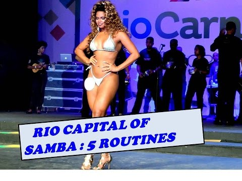 RIO CAPITAL OF SAMBA: FIVE SAMBA STARS DANCING ON STAGE IN LIVE CONTEST RIO DE JANEIRO