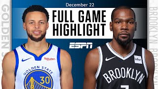 Golden State Warriors vs. Brooklyn Nets [FULL GAME HIGHLIGHTS] | NBA on ESPN