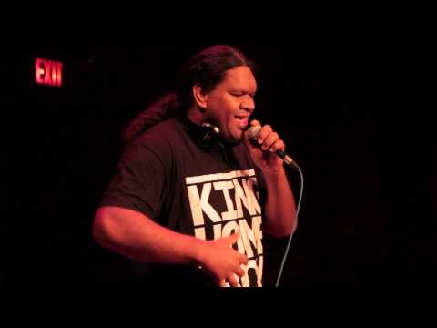 King Homeboy  destroying the mic at La MaMa's American Human Beatbox Festival