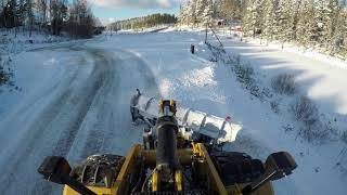 Cat 972m xe Wheel Loaders plowing snow 4Meter Drivex 4k