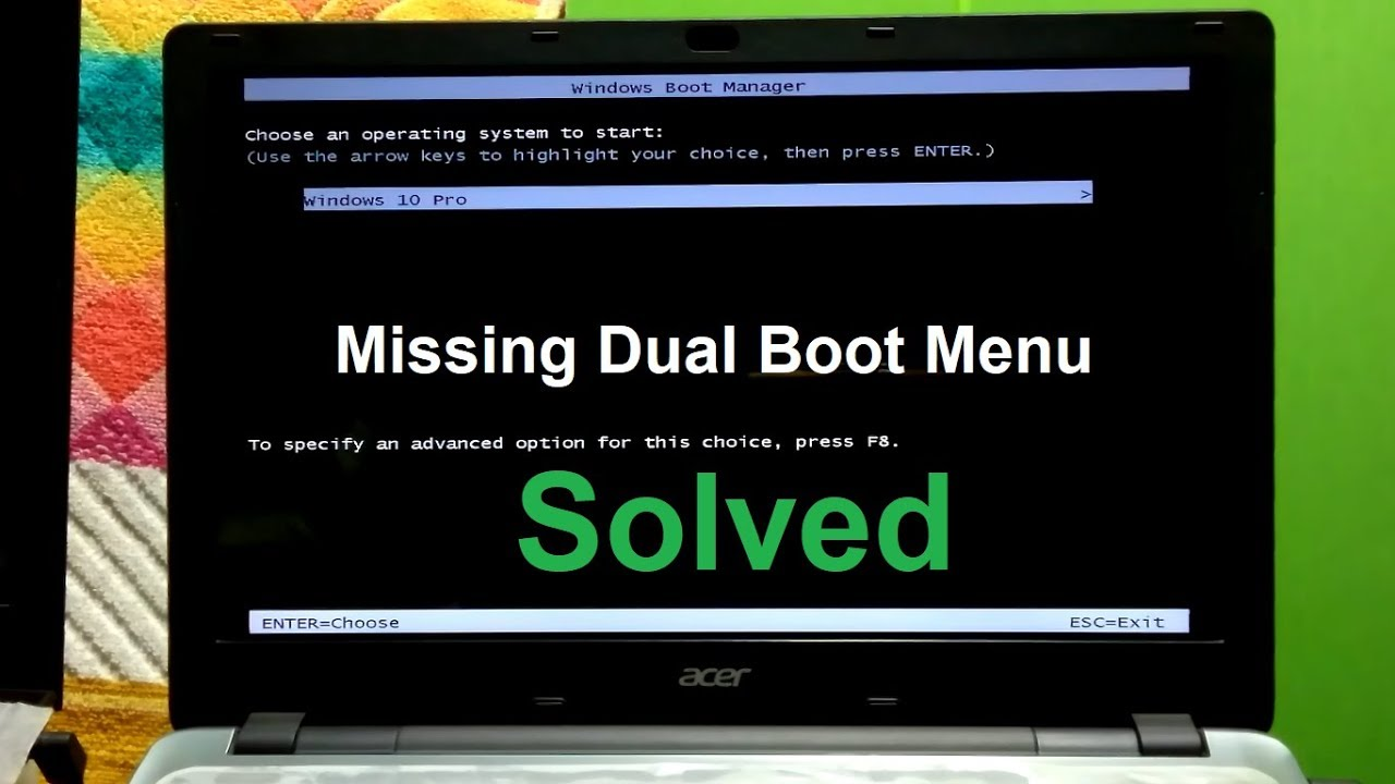 how to fix missing dual boot menu windows 10  8  7