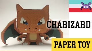 How to Make a  Pokemon Charizard Paper Toy ( Papercraft ) (free template) by Becks Junkie