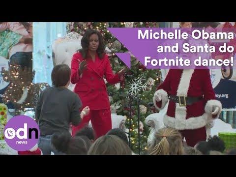 Michelle Obama and Santa do Fortnite dance!