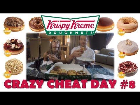 CRAZY CHEAT DAY #8 - KRISPY KREME DONUTS, PEANUT BUTTER NOUGAT, NY CHEESECAKE, CARAMEL KREME CRUNCH