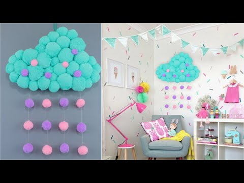 Декор детской комнаты своими руками. Как сделать облако из картона и ткани.