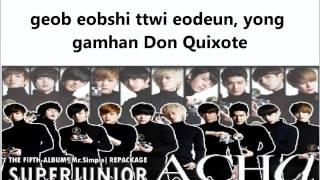 Super Junior A- Cha Lyrics (Rom + Hangul)