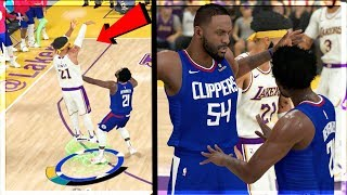 INTENSE LA RIVALRY! FIGHT AFTER HARD FOUL + New Shooting Badge!  NBA 2k20 MyCAREER Ep.69
