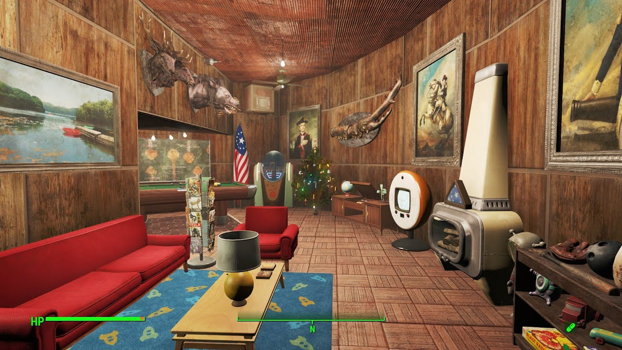 Fallout 4 pre war themed home plate settlement tour youtube for Fallout 4 bedroom ideas